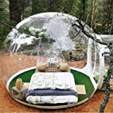 RJUN Transparent Viewing Inflatable Outdoor Camping Bubble Tent with Single Tunnel and Air Pump,3-4 Persons