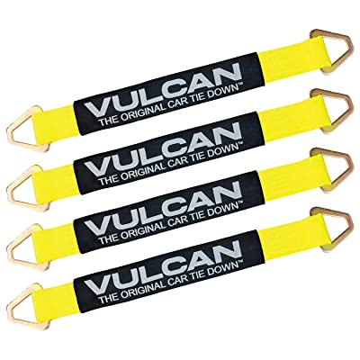 VULCAN Tie Down Axle Straps with Wear Pad - 4 Pack - Classic Yellow - 3,300 Pound Safe Working Load: Automotive