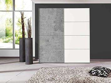 Nicht Zutreffend Armario con Puertas correderas para Dormitorio, Color Blanco Polar, Aspecto de hormigón, 200 x 216 ...