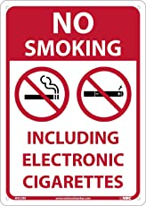 National Marker Corp. M952RB No Smoking, Including Electronic Cigarettes Sign, 14 Inch X 10 Inch, Pressure Rigid Plastic