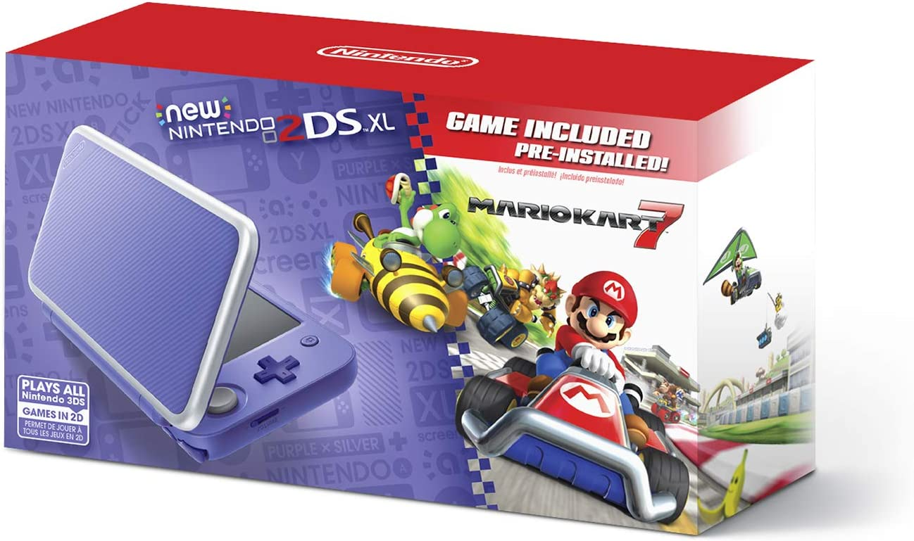 New Nintendo 2DS XL – Purple Silver With Mario Kart 7 Pre-installed – Nintendo 2DS
