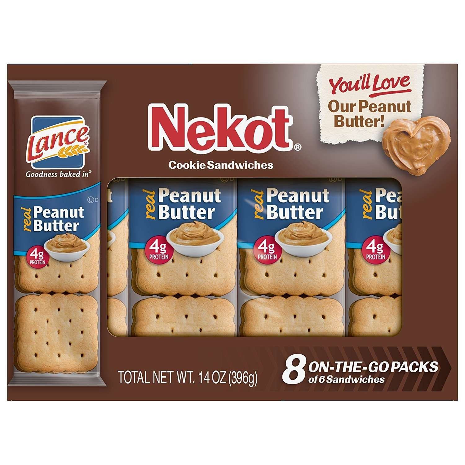 Lance Nekot Peanut Butter Cookie Sandwiches, 8-Count Boxes (Pack of 14)