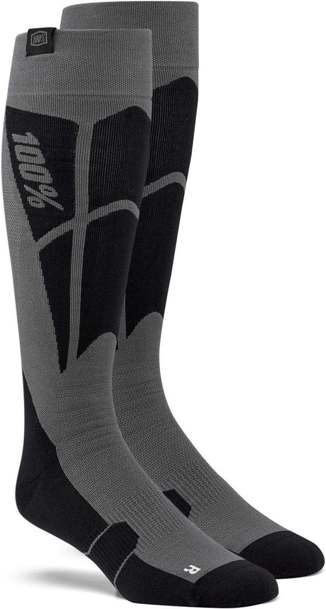 100/% Hi Side Performance Moto Socks-Black//Steel Grey-L//XL