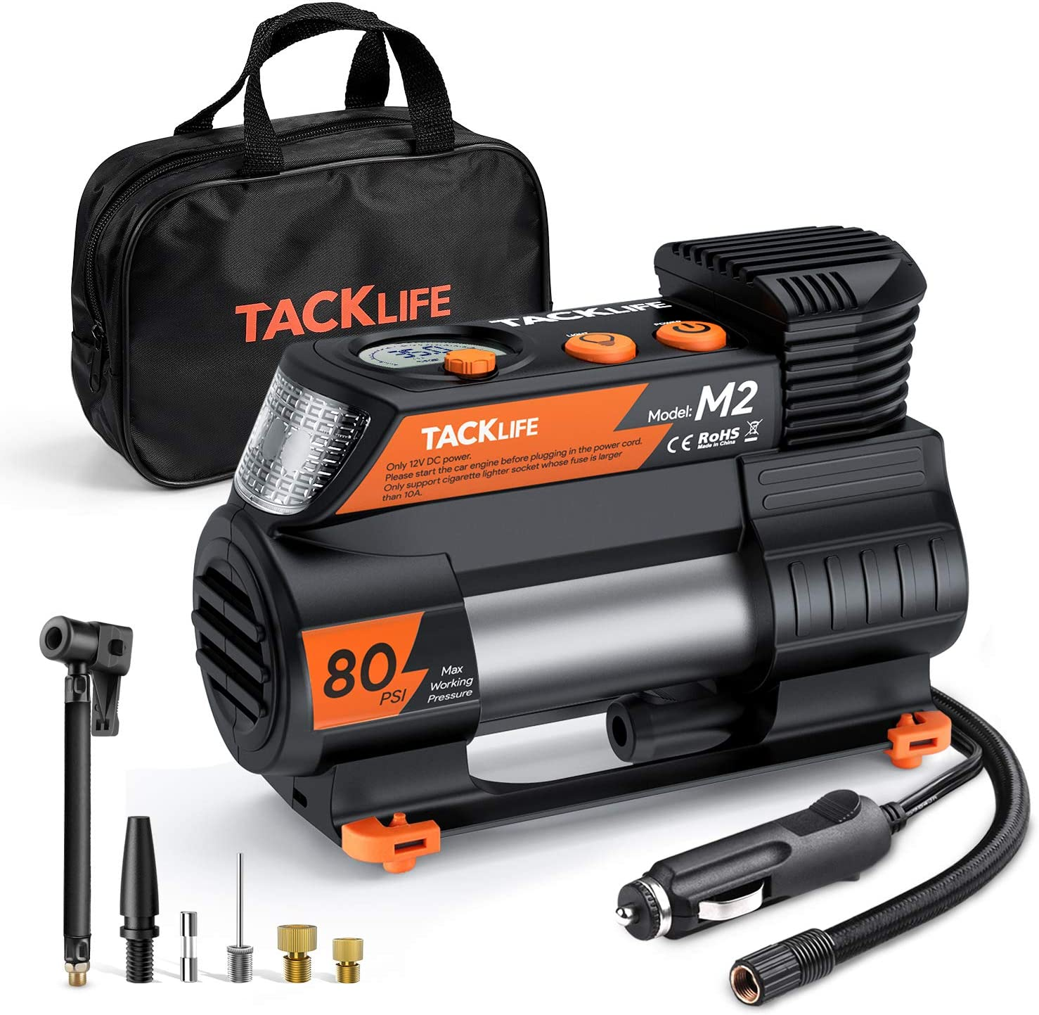 TACKLIFE M2 12V DC Digital Auto Tire Inflator Portable Air Compressor Pump with Digital Pressure Gauge for Cars Bikes and Other Inflatables (TACKLIFE Newest Upgraded Tire Inflator)