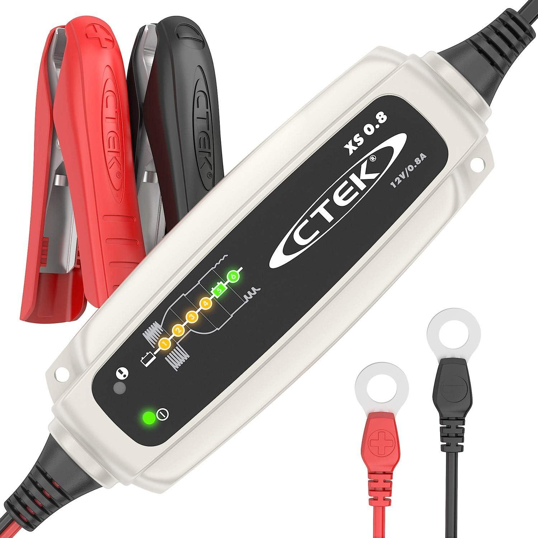Ctek Ctk56707 Xs 0 8 Vollautomatisches Batterie Ladeerhaltungsgerät Zur Langezeit Erhaltung Von Batterien Für Motorräder Und Andere Kleinere Fahrzeuge 12v 0 8 A Eu Stecker Auto