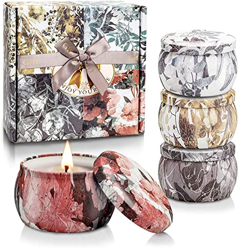Amazon Com Scented Candles Gift Set Soy Wax 4 4 Oz Tin Candles Gift For Women Host Mother S Day Gifts With Strongly Fragrance For Relax 4 Pack Home Kitchen