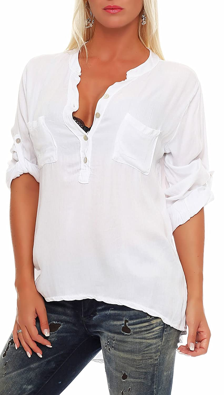 Malito dam blus med knappflik | tunika med ärmar | blusskjorta också lång ärm bärbar | Elegant – tröja 9015 Weiß