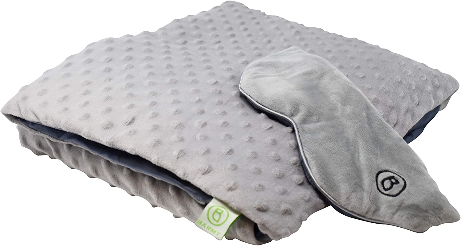 BARMY Weighted Sleep Mask (0.8lbs) and Weighted Lap Blanket with Removable, Washable Cover (6lbs, 48x24 inches) Ideal for Relaxation and Meditation