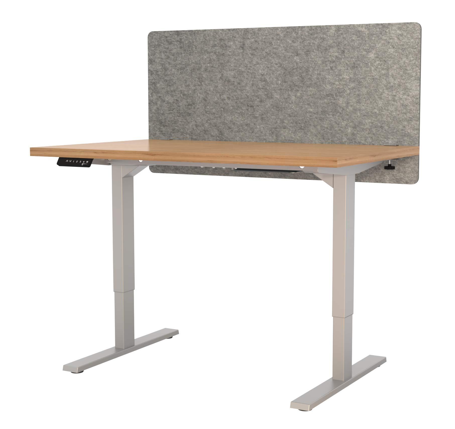 "VaRoom Acoustic Partition, Sound Absorbing Desk Divider – 48"" W x 24""H Privacy Desk Mounted Cubicle Panel, Ash Grey by VaRoom (Image #2)"