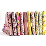 "RayLineDo® 10 Pcs Different Pattern Multi Color 100% Cotton Poplin Fabric Fat Quarter Bundle 18"" x 22"" Patchwork Quilting Fabric Yellow and Pink Series"