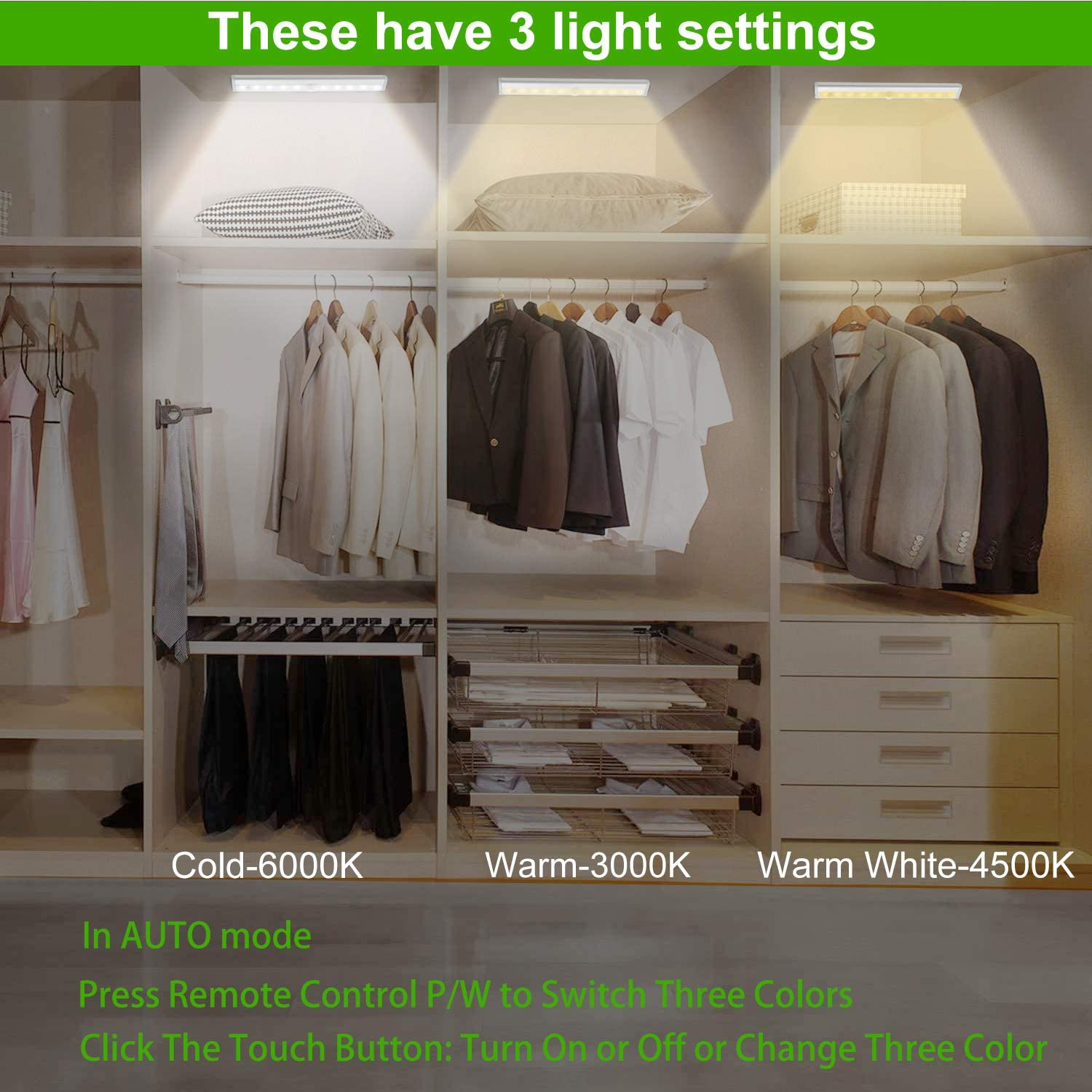 Anbock Remote Control Under Cabinet Lighting Wireless 3 Pack 20-LED Closet Lights Rechargeable Counter Lights for Kitchen Night Light Strip Bar with Touch Control for Wardrobe Stairs 3 Colors