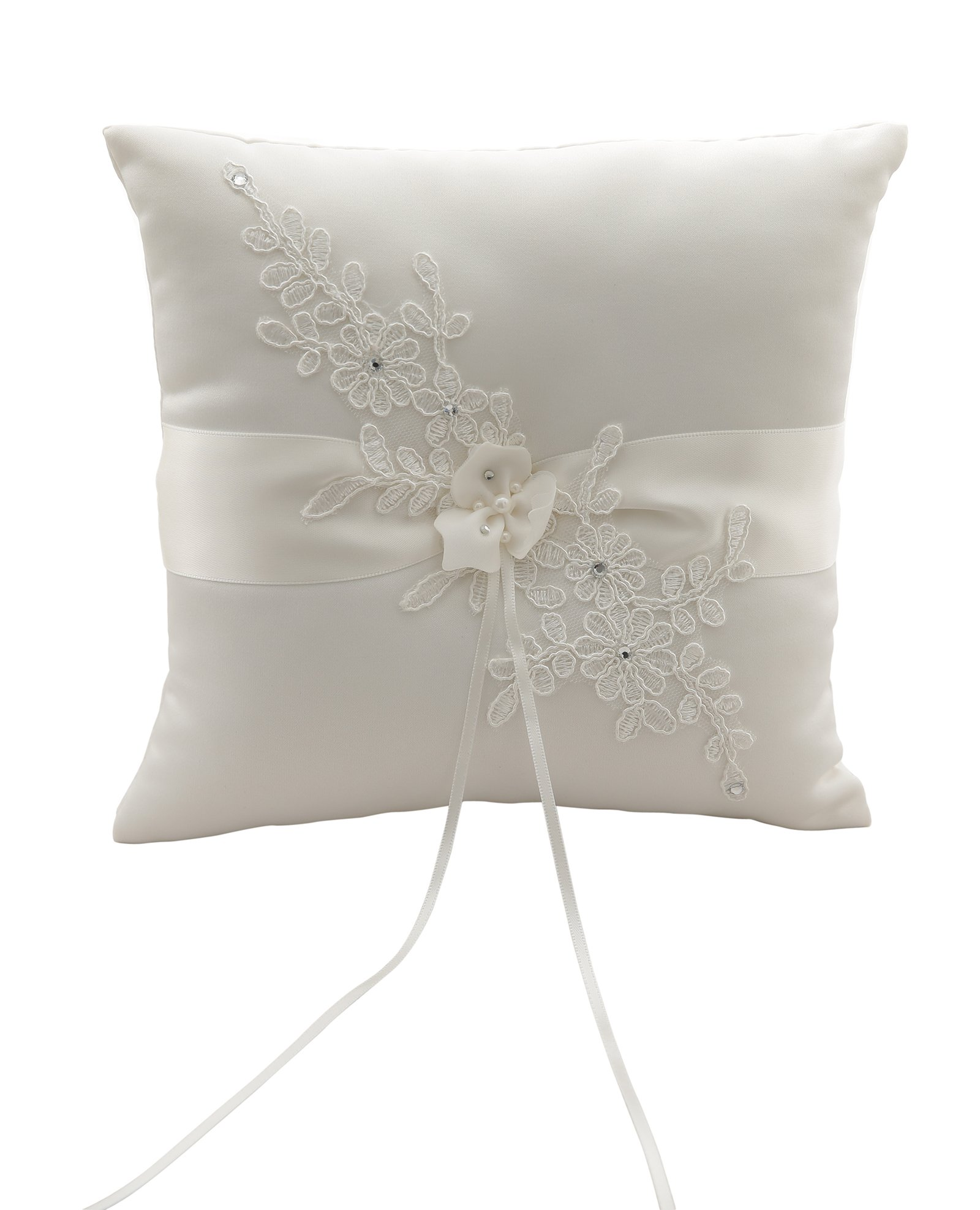 MeryaDress Ivory Satin and Lace Wedding Ring Bearer Pillow Cushion Embroider Flower Lace with Bow, 8 Inch (21cmx 21cm) Ring Bearer for Beach Wedding, Wedding ceremony-G