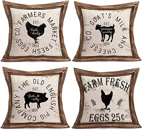 Smilyard Vintage Farm Farmhouse Pillow Cover 18 X18 Set Of 4 Rustic Farm Animal Rooster Hen Cow Pig Rustic Throw Pillow Cases Cushion Cover For Home Couch Vap 06 Home Kitchen