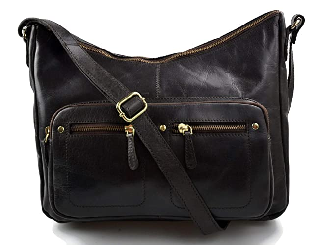 fa161c352bf9 Ladies buffalo leather dark brown handbag women shoulder bag leather ...