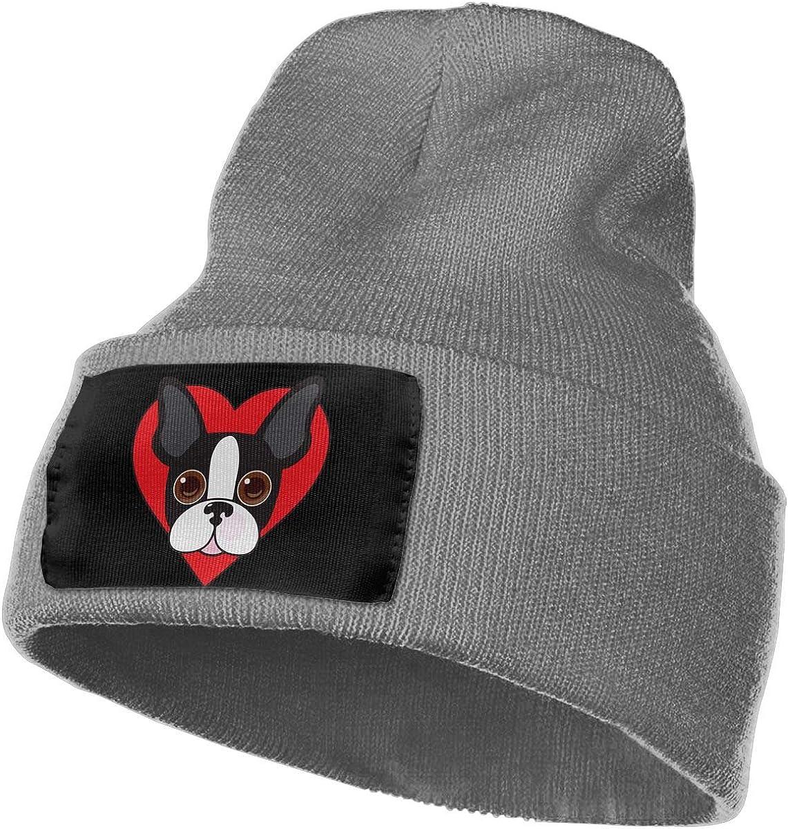 WHOO93@Y Mens Womens 100/% Acrylic Knitting Hat Cap Boston Terrier Face Soft Skull Cap