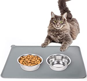 Silicone Cat Dog Food Mat, Waterproof Pet Feeding Mat with Lips, Non-Slip Dog Bowls Mat for Food and Water, Pet Placemat for Small Medium Pets, Washable