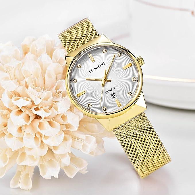 Amazon.com: LONGBO Luxury Womens Gold Metal Mesh Strap Analog Quartz Business Watch Auto Date Calendar Couple Dress Watch Waterproof Rhinestone Accented ...