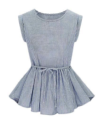 Blusas Verano Mujer Elegantes Rayas Sin Mangas Cuello Redondo Slim Fit Volantes Ropa Fiesta Modernas Jovene Moda Casual Camisas Blusa Shirt Tops Niña: ...
