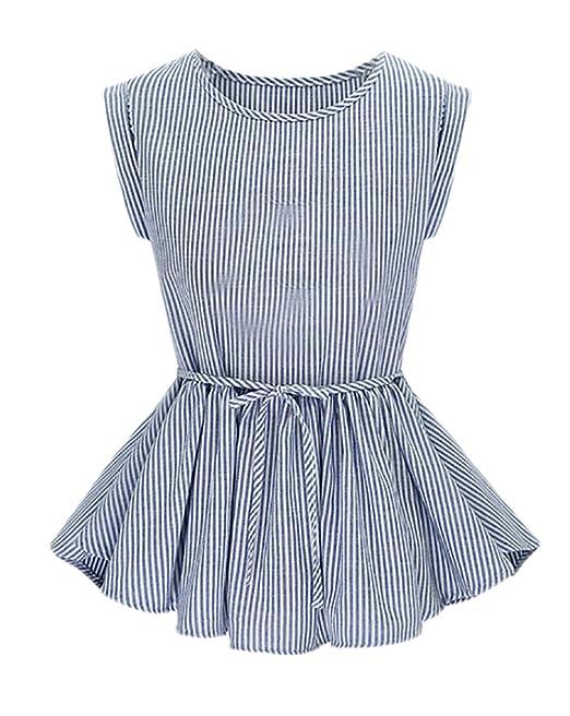 Blusas Verano Mujer Elegantes Rayas Sin Mangas Cuello Redondo Slim Fit Volantes Joven Bastante Jovene Moda Casual Camisas Blusa Shirt Tops Niña Women: ...
