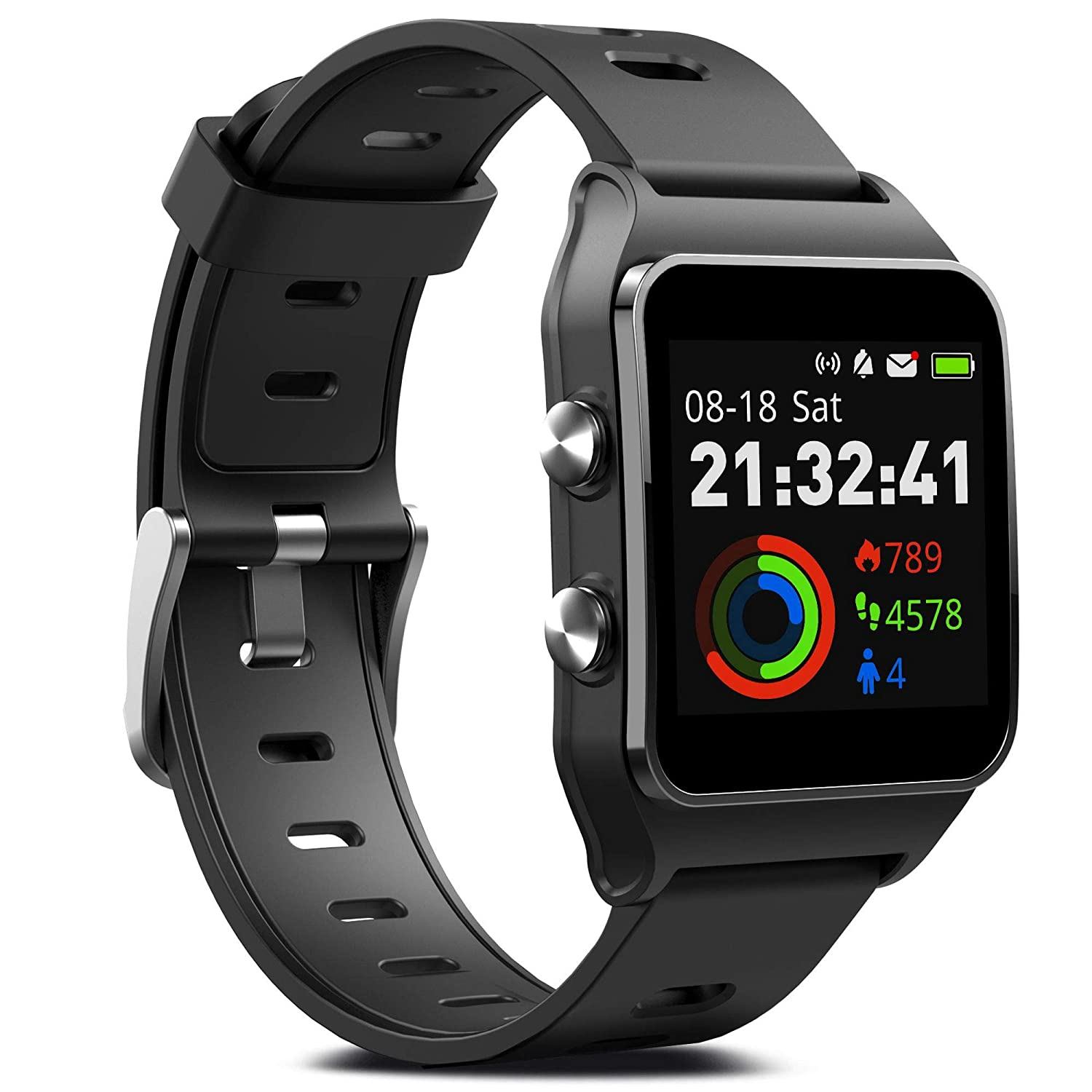 FITVII GPS Smartwatch with 17 Sports Mode Activity Tracker IP68 Waterproof Swimming Touch Screen Watches, Heart Rate Monitor Sleep Trackers with ...