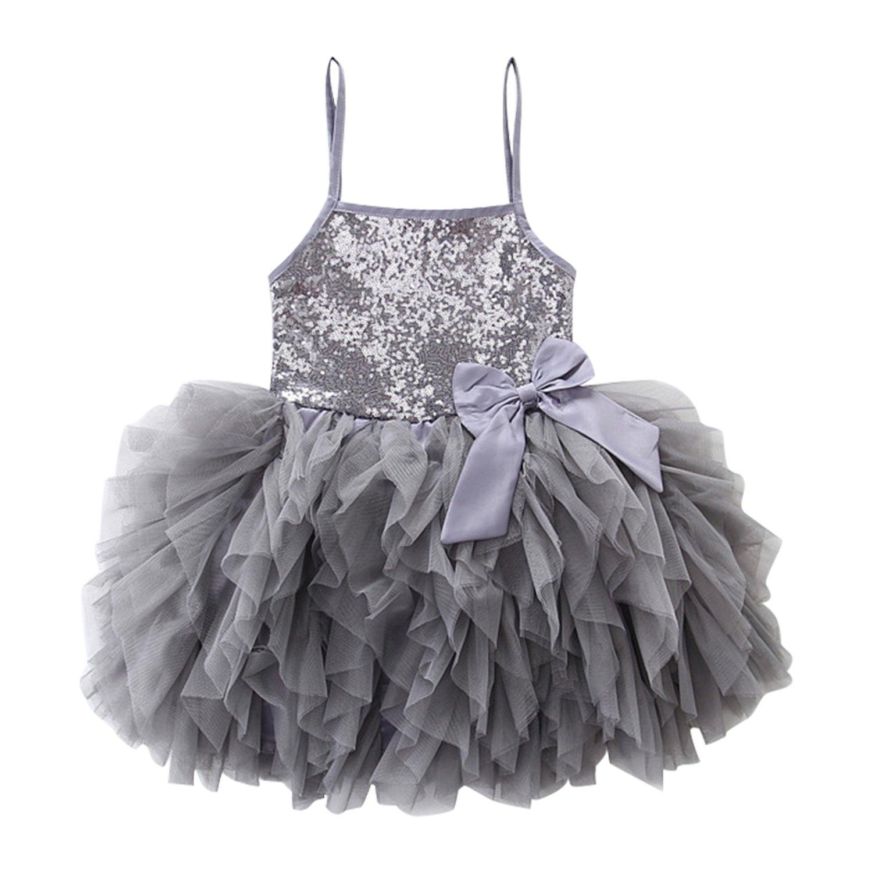 Evelin LEE Little Girls Spaghetti Strap Sequins Bow Wedding Tulle Dress 05LFA1139GY-120-CA-ZL