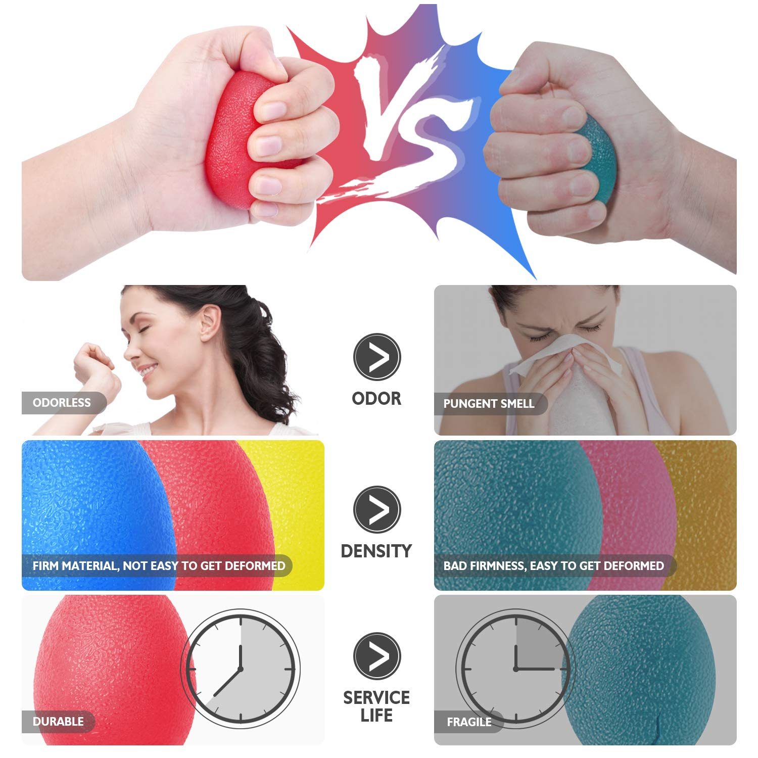 Peradix Hand Grip Stress Relief Ball Fidget Toys Strength Trainer Fits Both for Adults and Kids (3PC)(Medium Size 5.84cm)