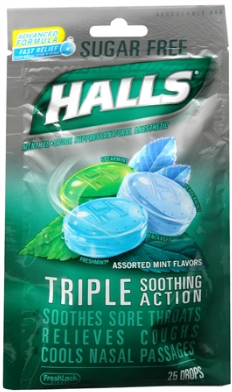 Halls Mentho-Lyptus Drops Sugar Free Assorted Mint 25 Each (Pack of 9)