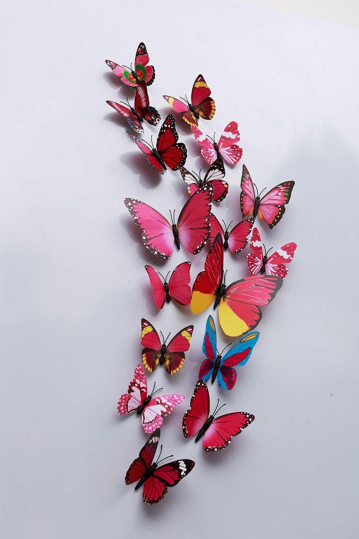 24, !!! Blue 24 Pcs 3D Butterfly Wall Stickers Art Decor Decals