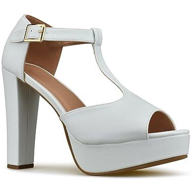 d21db009233 Premier Standard Womens Platform Ankle T-Strap High Heel - Peep Toe Sandal  Pump -