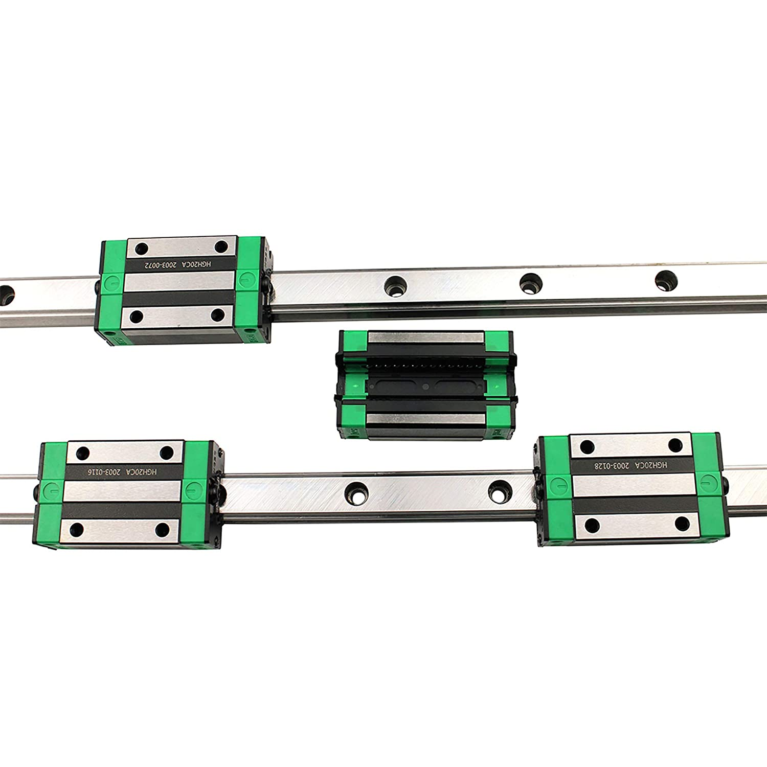 200mm 4Pcs HGH20CA Square Type Carriage Bearing Block GUWANJI 2Pcs HGR20-200mm Linear Guide Rail for DIY CNC Routers Lathes Mills Linear Slide Rail Guide Rail Length 7.8 inch