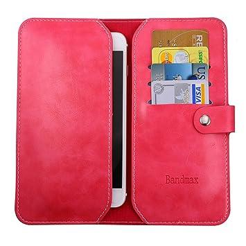 Bandmax Funda para iPhone 6/6s Funda Fucsia Cuero PU Piel Monedero de Tarjeta Antigravedad con Tapa y Cartera para iPhone 6/6s/Móvil de 4.0- ...