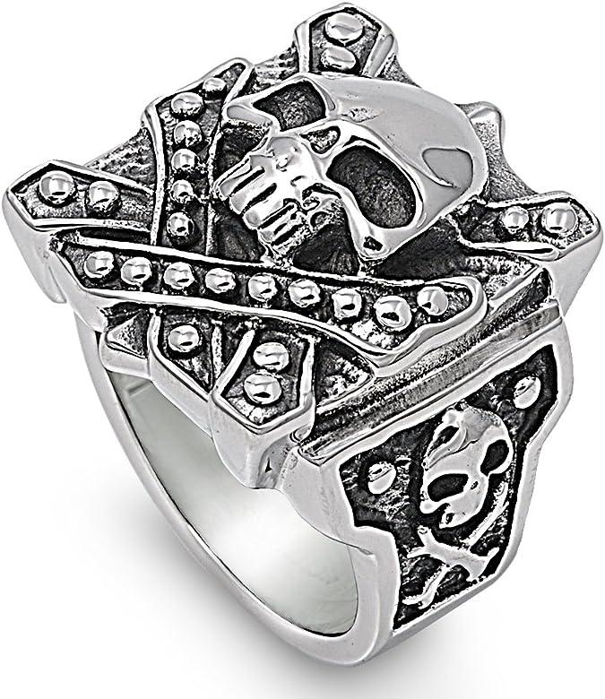 La caja de Pandora de acero inoxidable calavera anillo 26 mm ...