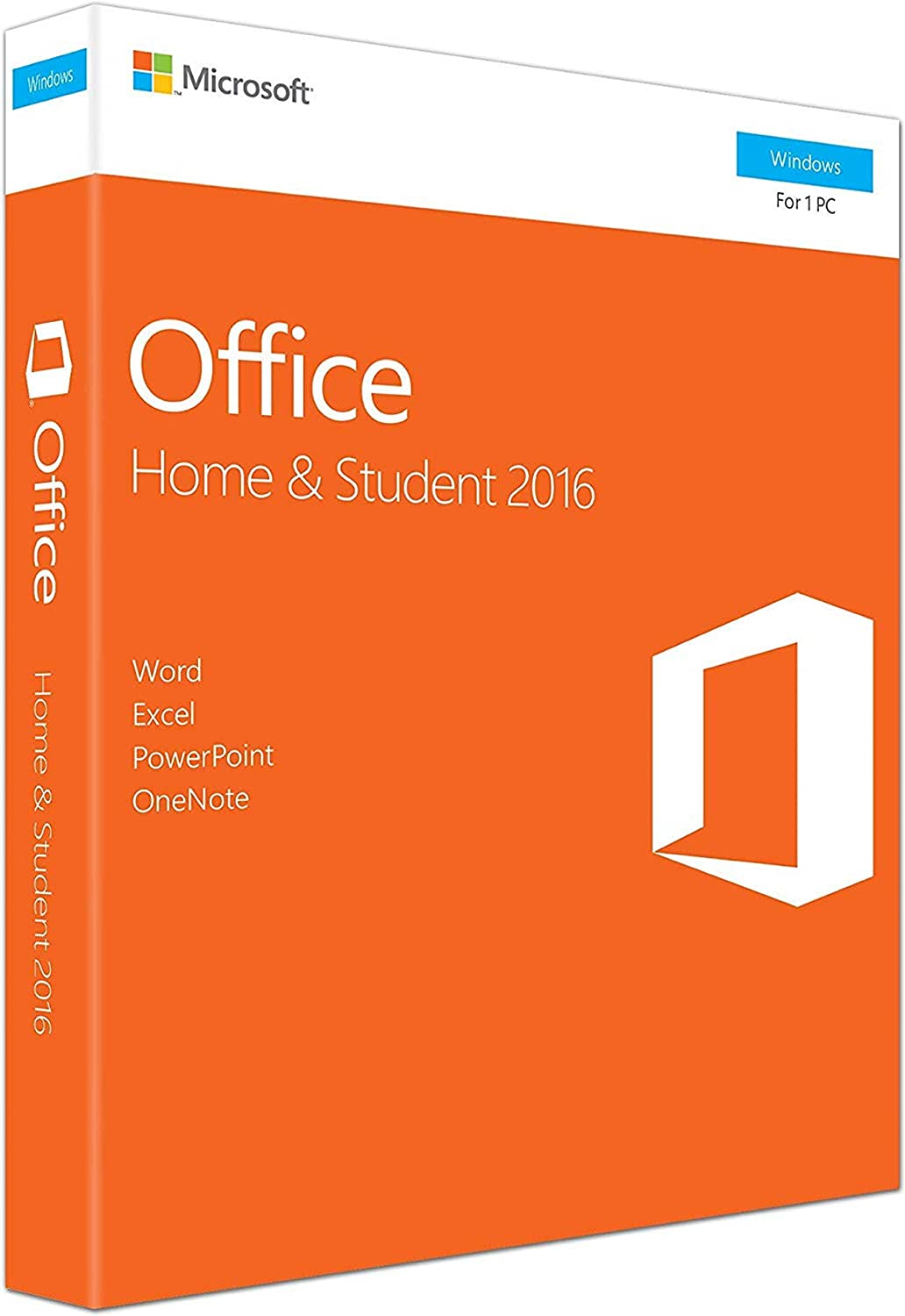 Office 2016 Home and Student - English - New - 1 PC - Box - KeyCard - Word Excel PowerPoint OneNote - Office Home and Student 2016 for Windows 10