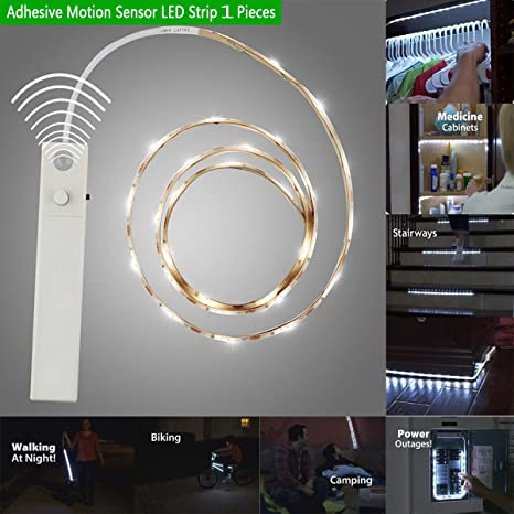 1 Meter Adhesive Motion Sensor LED Strip Lights For Wardrobe Closet Cabinet  Baby Kids Room Battery