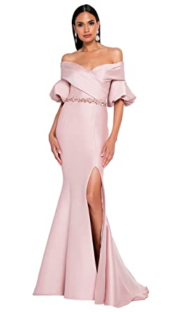 a66e979646033 Terani Couture Off-Shoulder 3/4 Bell Sleeve Belted Long Dress at Amazon  Women's Clothing store: