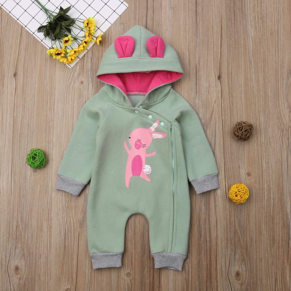 Winter Warm Newborn Baby Boys Girls Cartoon Rabbit Ear Zipper Hooded Romper Jumpsuit Outfits