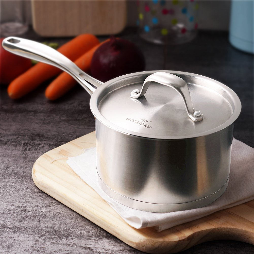 HOMI CHEF Matte Polished Stainless Steel 1.75 QT Sauce Pan