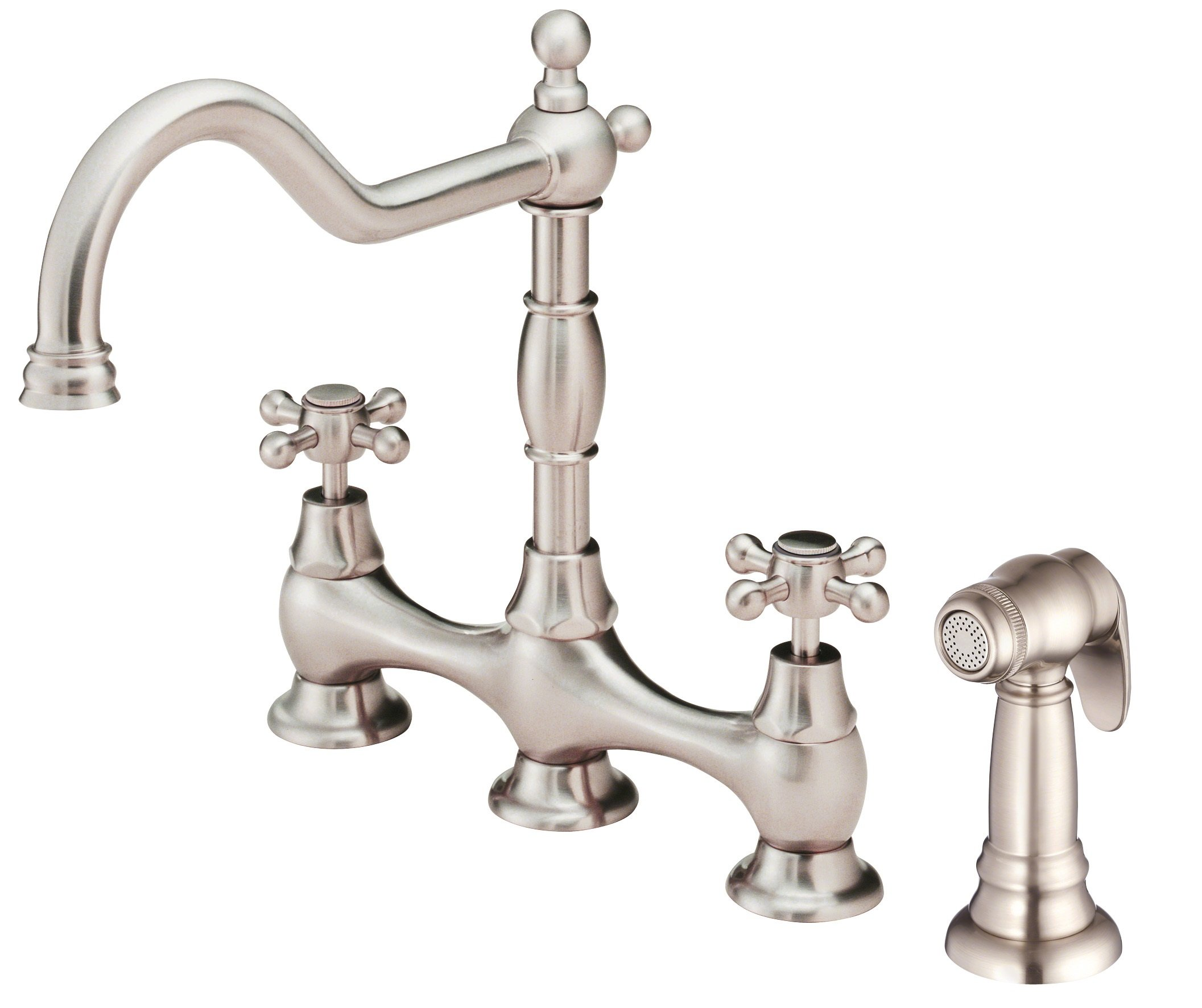Danze D404457SS Opulence Two Handle Kitchen Faucet with Side Spray, Stainless Steel