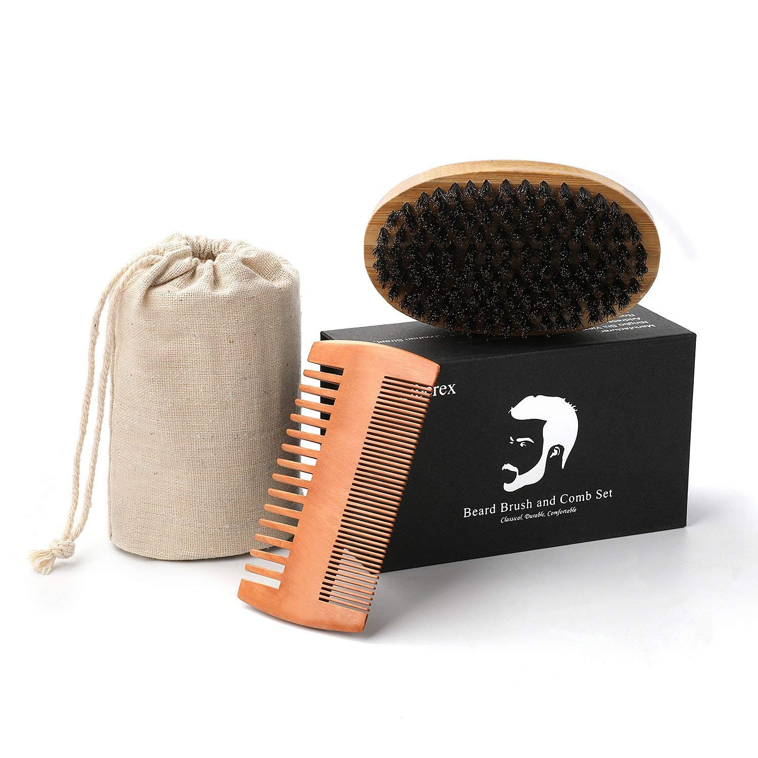 Beard Brush and Comb Set for Men, Liberex Handmade Wooden Comb and Boar Bristle Beard Brush Kit, with Friendly Gift Box and Cotton Bag, Best Partner for Grooming Facial Hair or Great Gift Idea