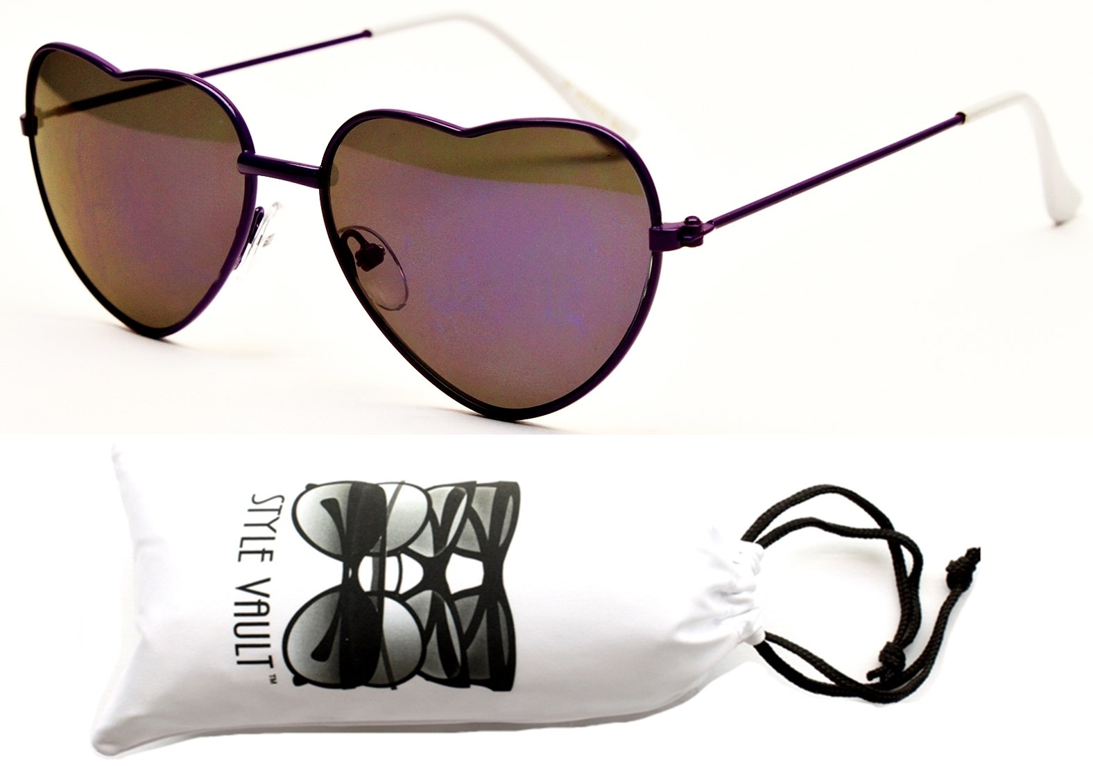 Kd61-vp Kids Girls (2~8yr) Heart Love Shape Sunglasses (XORV Purple-Purple Mirror, uv400)
