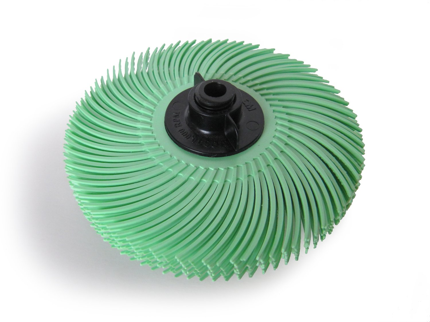 JoolTool 3M Scotch-Brite Green Radial Bristle Brush Assembled with Plastic Tapered Mandrel Hub, 6 Ply, 3'' Diameter, 1 Micron