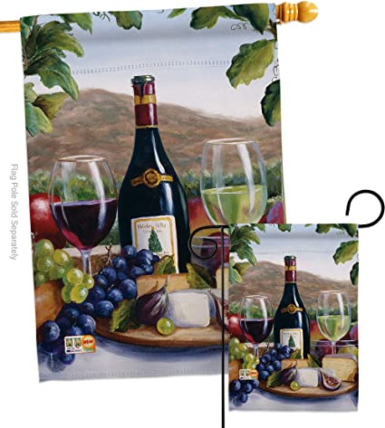 Breeze Decor Wine Red White Garden House Flags Set Beverages Drink Fruits Cheese Sangria Rose Dessert Sparkling Small Decorative Gift Yard Banner Double Sided Made In Usa 28 X 40