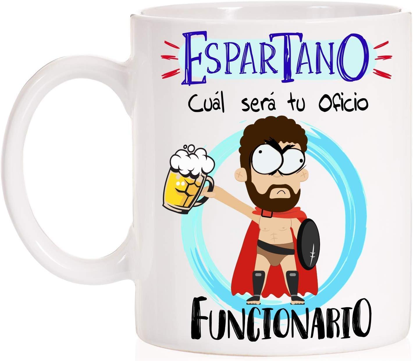 MardeTé Taza Espartano cual será tu Oficio, Funcionario. Taza Regalo para opositor, Estudiante, Trabajador, alumno.