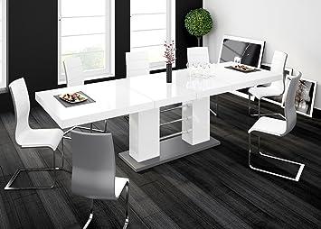 Esstisch ausziehbar grau  Esstisch LINOSA-2 Tisch ausziehbar in Super Hochglanz Acryl (grau ...