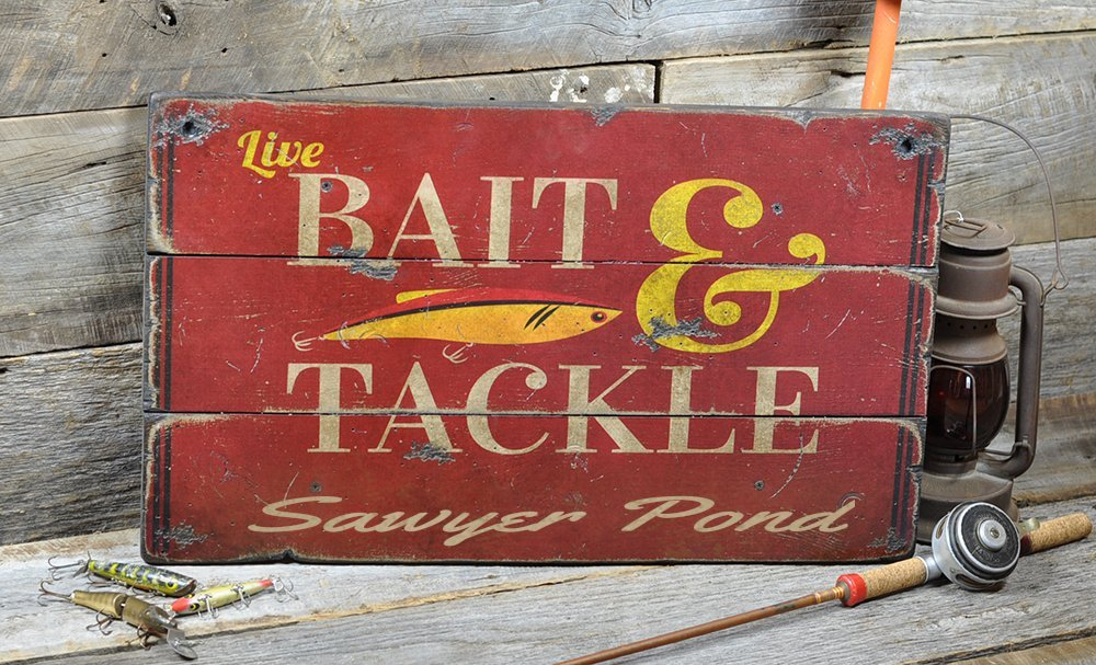 Sawyer Pond New Hampshire, Bait and Tackle Lake House Sign - Custom Lake Name Distressed Wooden Sign - 33 x 60 Inches
