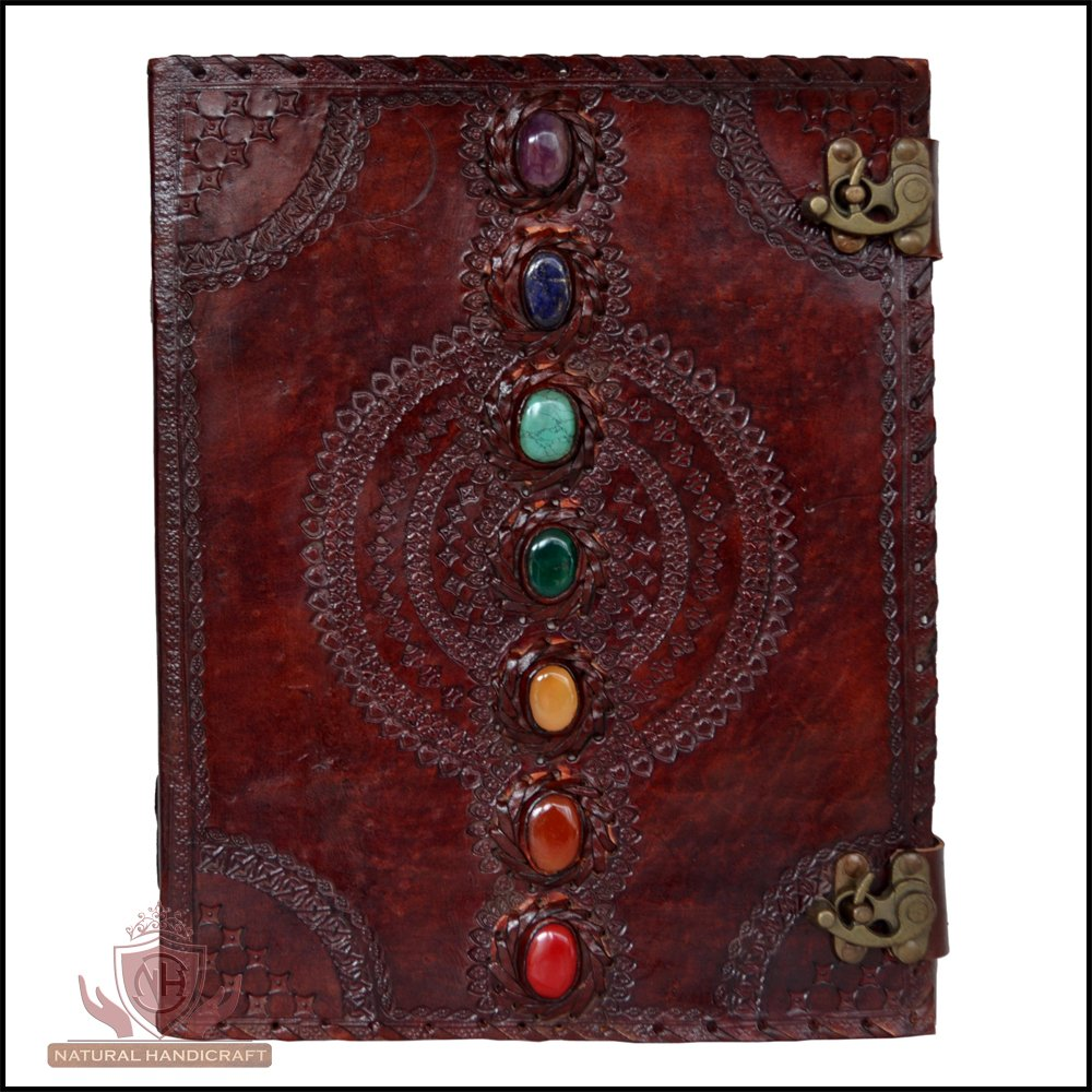 Leather Journal Book Seven Chakra Medieval Stone Embossed Handmade Book of Shadows Notebook Office Diary College Book Poetry Book Sketch Book 10 x 13 Inches by The Stellar Styles