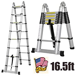 Aluminum Telescoping Extension Ladder 330 Pound Capacity 16.5 Feet 16 Folding Steps A-Frame 2.5m+2.5m