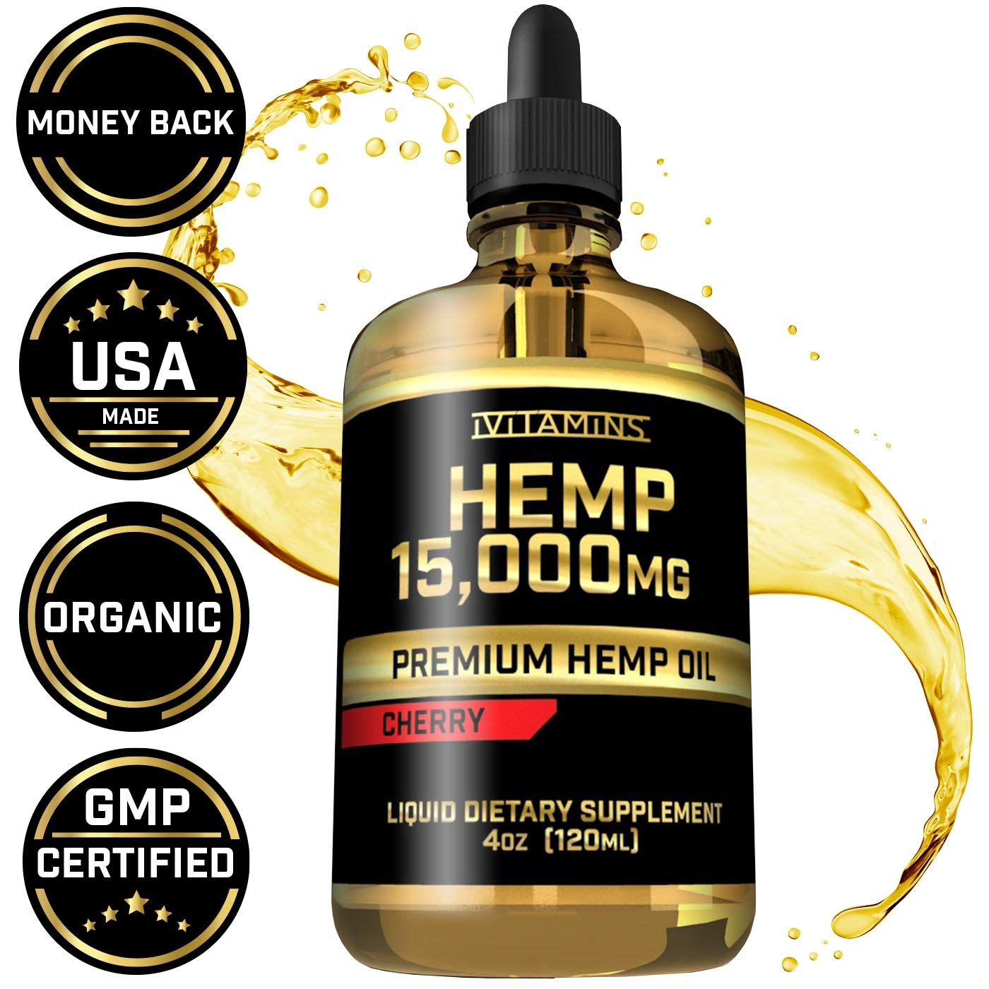 Hemp Oil Drops for Pain & Anxiety - 15,000mg - May Help with Stress, Inflammation, Pain, Sleep, Anxiety, Depression, Nausea + More - Zero THC CBD Cannabidoil - Rich in Omega 3,6,9 (Cherry)