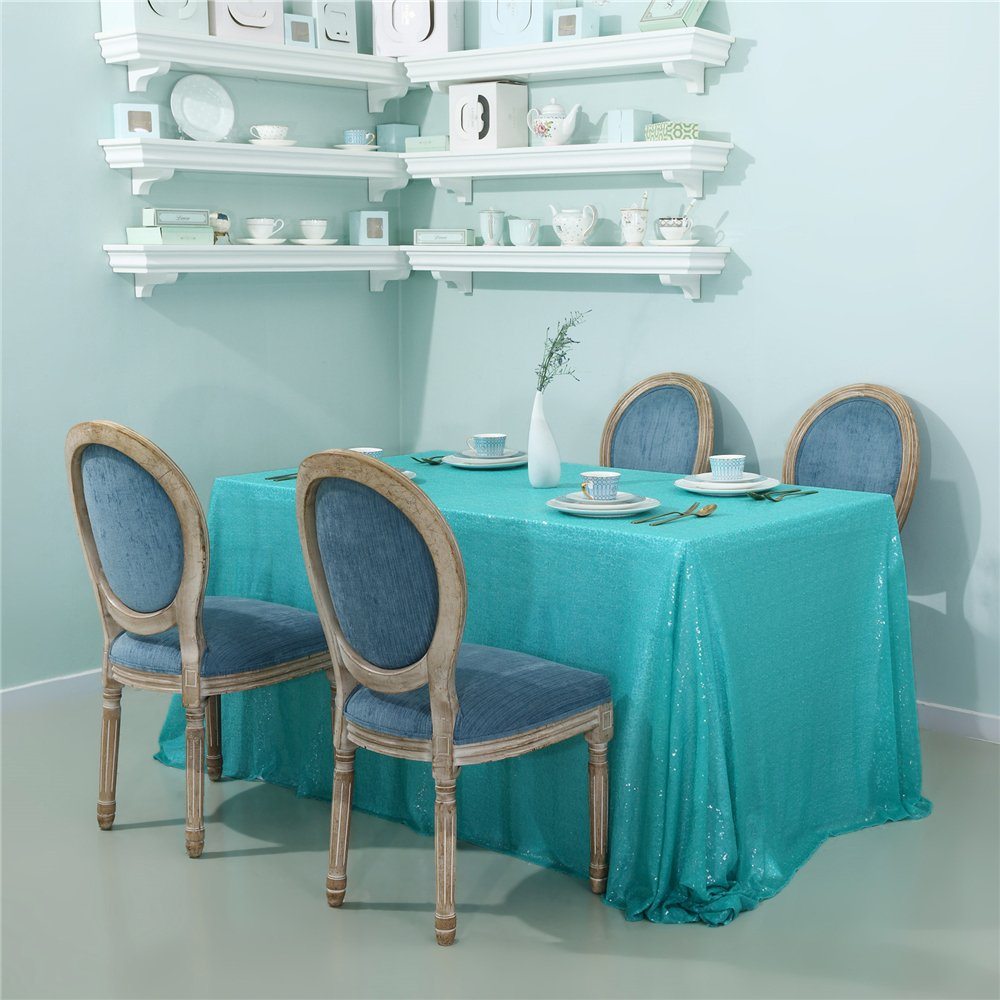 Zdada Wedding Party Table Cloth Aqua Green 90''x132'' Spakrly Table Cover