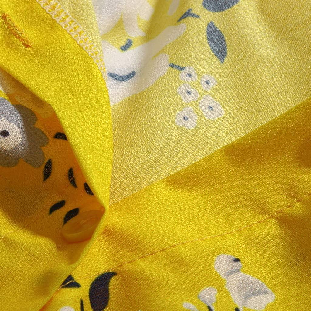 Lazzboy Donna Top Camicie Plus Size Fiore//Leopardo Stampare Manica Lunga//Manica Corta Largo Button Bluse